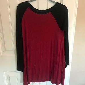 Forever21 black and red long sleeve T-shirt dress